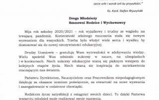 Zdjęcie: Życzenia nazakończenie roku szkolnego odStarosty Powiatu Łańcuckiego